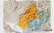 Political 3D Map of Koplik, lighten, semi-desaturated