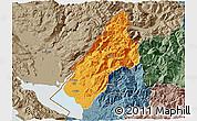 Political 3D Map of Koplik, semi-desaturated