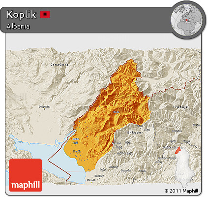 Political 3D Map of Koplik, shaded relief outside