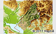 Satellite 3D Map of Koplik, physical outside