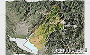 Satellite 3D Map of Koplik, semi-desaturated