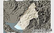 Shaded Relief 3D Map of Koplik, darken