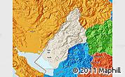 Shaded Relief Map of Koplik, political outside