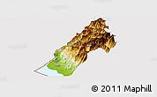 Physical Panoramic Map of Koplik, cropped outside