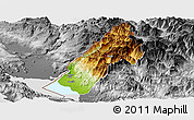 Physical Panoramic Map of Koplik, desaturated