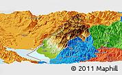 Physical Panoramic Map of Koplik, political outside