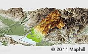Physical Panoramic Map of Koplik, semi-desaturated
