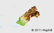 Physical Panoramic Map of Koplik, single color outside