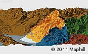 Political Panoramic Map of Koplik, darken