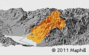 Political Panoramic Map of Koplik, desaturated