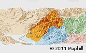 Political Panoramic Map of Koplik, lighten