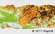 Political Panoramic Map of Koplik, physical outside