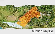 Political Panoramic Map of Koplik, satellite outside