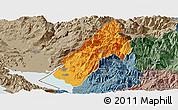 Political Panoramic Map of Koplik, semi-desaturated