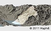 Shaded Relief Panoramic Map of Koplik, darken