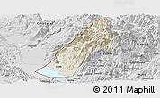 Shaded Relief Panoramic Map of Koplik, desaturated