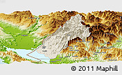 Shaded Relief Panoramic Map of Koplik, physical outside