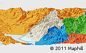 Shaded Relief Panoramic Map of Koplik, political outside