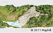 Shaded Relief Panoramic Map of Koplik, satellite outside