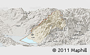 Shaded Relief Panoramic Map of Koplik, semi-desaturated