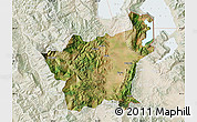 Satellite Map of Korçë, lighten