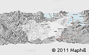 Gray Panoramic Map of Korçë