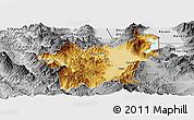 Physical Panoramic Map of Korçë, desaturated