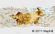 Physical Panoramic Map of Korçë, shaded relief outside
