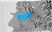 Political 3D Map of Krujë, desaturated