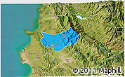 Political 3D Map of Krujë, satellite outside
