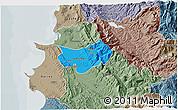 Political 3D Map of Krujë, semi-desaturated