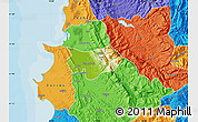 Physical Map of Krujë, political outside