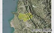 Satellite Map of Krujë, semi-desaturated