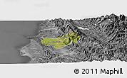 Satellite Panoramic Map of Krujë, desaturated