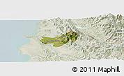 Satellite Panoramic Map of Krujë, lighten