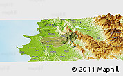 Satellite Panoramic Map of Krujë, physical outside