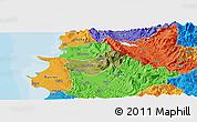 Satellite Panoramic Map of Krujë, political outside