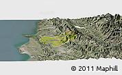 Satellite Panoramic Map of Krujë, semi-desaturated