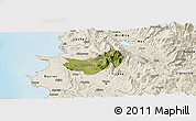 Satellite Panoramic Map of Krujë, shaded relief outside