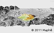 Physical Panoramic Map of Krumë, desaturated
