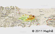 Physical Panoramic Map of Krumë, shaded relief outside