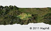 Satellite Panoramic Map of Krumë, darken