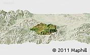 Satellite Panoramic Map of Krumë, lighten