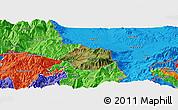 Satellite Panoramic Map of Krumë, political outside