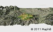Satellite Panoramic Map of Krumë, semi-desaturated