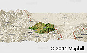 Satellite Panoramic Map of Krumë, shaded relief outside