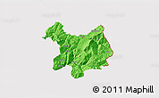 Political 3D Map of Kukës, cropped outside