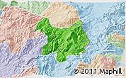 Political 3D Map of Kukës, lighten