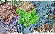Political 3D Map of Kukës, semi-desaturated