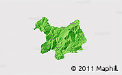 Political 3D Map of Kukës, single color outside